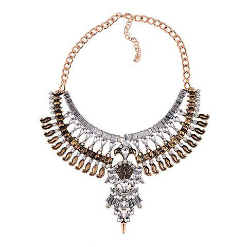 Exaggerated Layered Rhinestoned Necklace For Women - GOLDEN