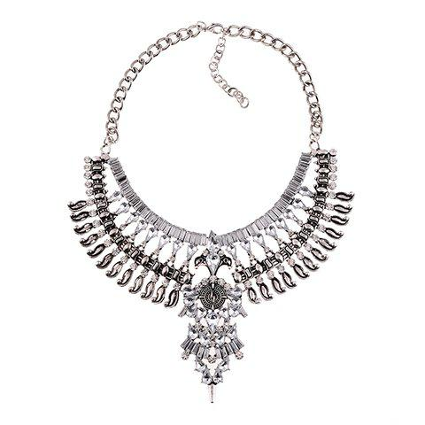 Exaggerated Layered Rhinestoned Necklace For Women - WHITE