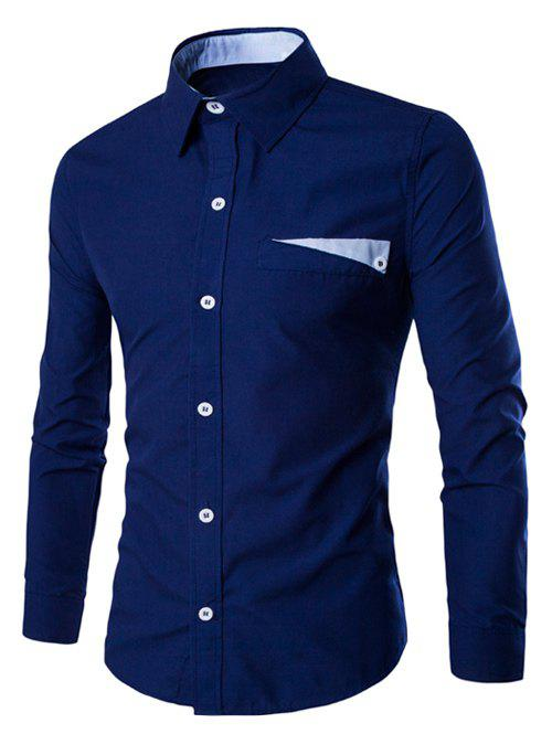 Color Block Pocket Design Turn-Down Collar Long Sleeve Men's Shirt - DEEP BLUE XL