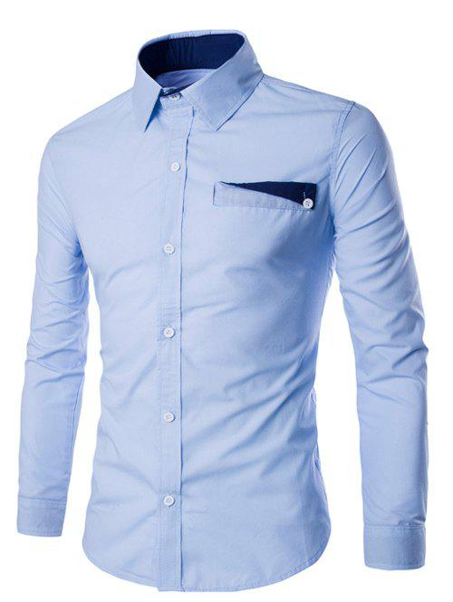 Color Block Pocket Design Turn-Down Collar Long Sleeve Men's Shirt - LIGHT BLUE XL