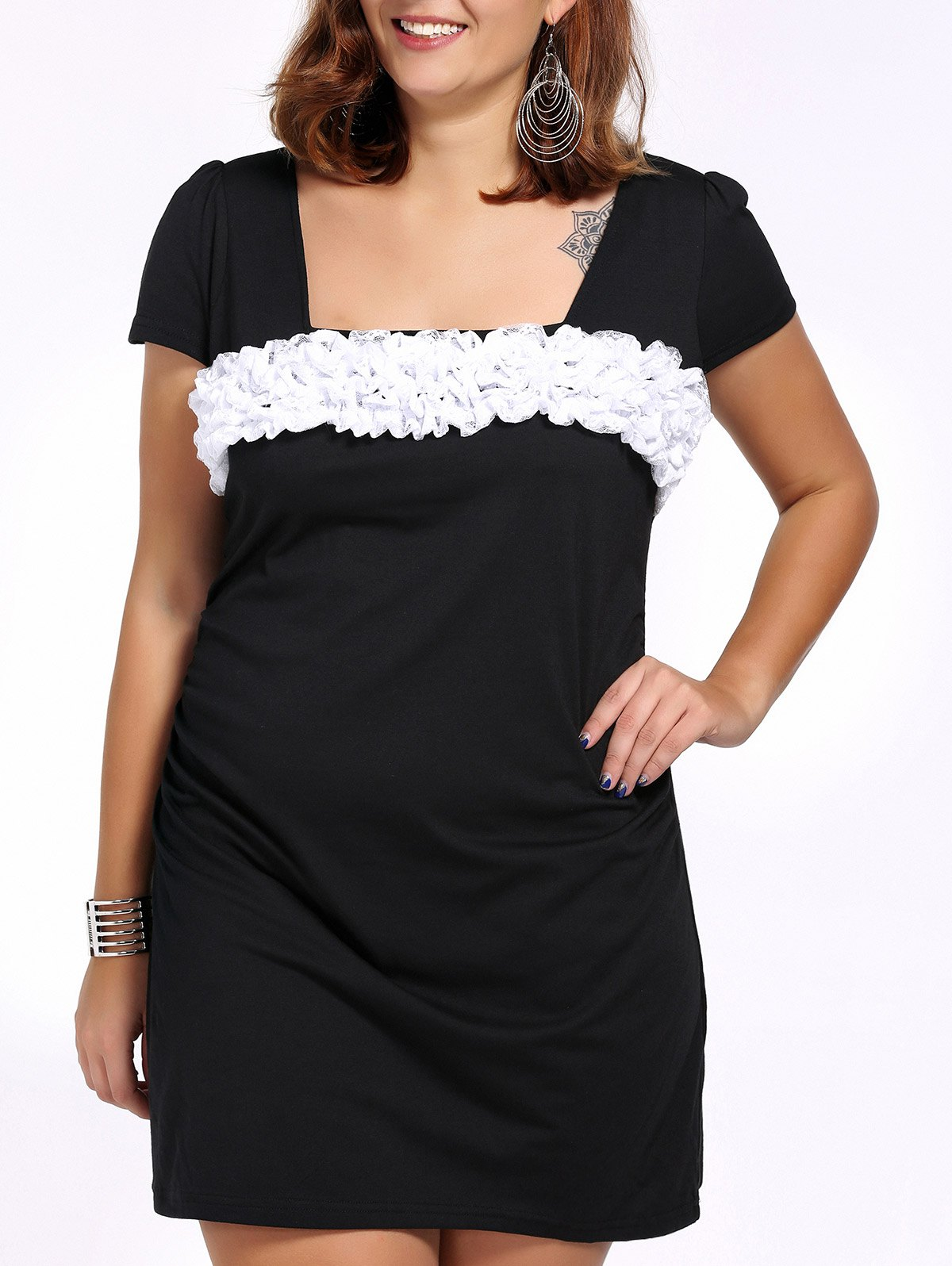 Alluring Plus Size Stereo Flower Design Square Neck Women's Dress - BLACK 3XL