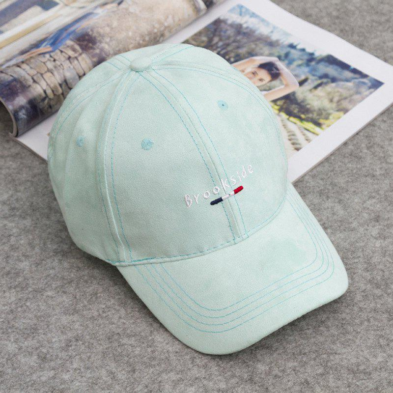 Fashion Letters and Traffic Baton Embroideried Street Hipsters Suede Baseball Cap - MINT GREEN