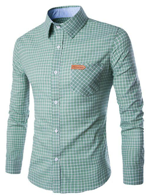 Checked Pocket Design Turn-Down Collar Long Sleeve Men's Shirt - GREEN L