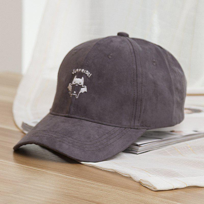 Fashion Cartoon Bat Embroideried Street Hipsters Suede Baseball Cap - GRAY