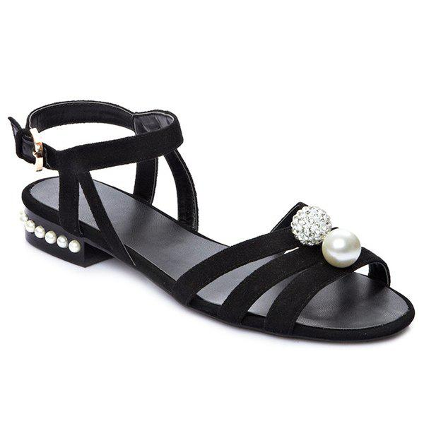 Casual Faux Pearls and Black Colour Design Women's Sandals - BLACK 38