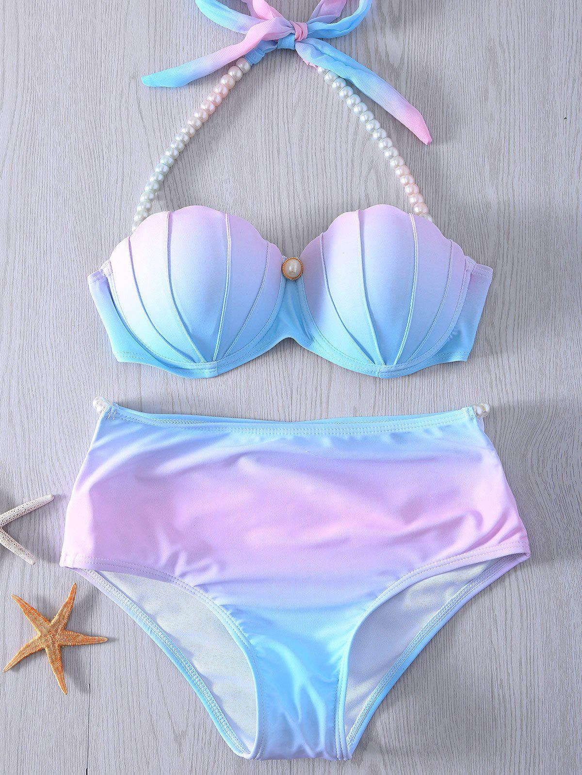 Buy Halter Neck Tie Dye Pearl Embellished Womens Bikini Set BLUE/PINK