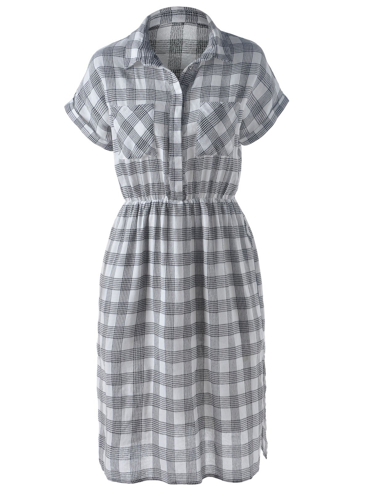 Stylish Women's Turn-Down Collar Short Sleeve Slit Plaid Dress - GRAY L