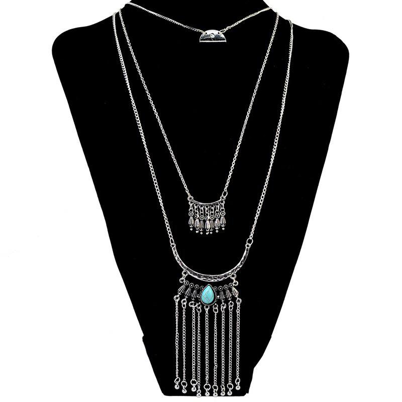 Gorgeous Faux Turquoise Multilayer Water Drop Long Tassel Sweater Chain For Women - SILVER