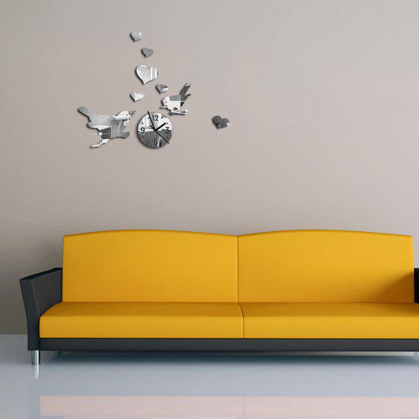 Modern DIY 3D Love Two Birds Round Shape Mirror Wall Stick Clock - SILVER