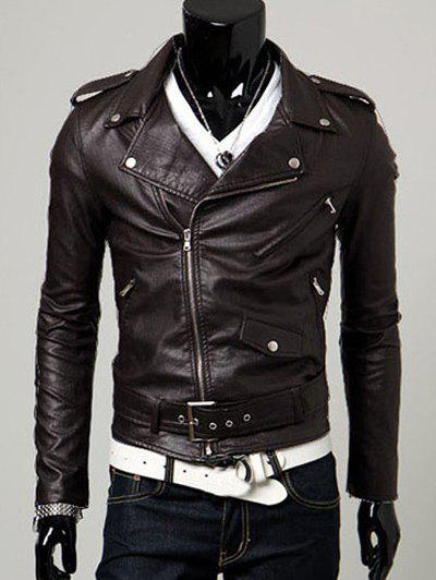 Belt Embellished Turn-Collar PU-Leather Epaulet Long Sleeve Men's Jacket - DARK COFFEE XL