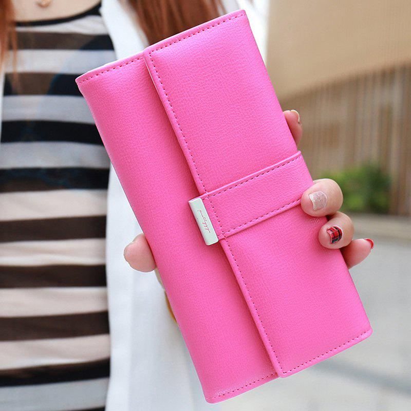 Sweet Candy Color and PU Leather Design Women's Wallet - ROSE