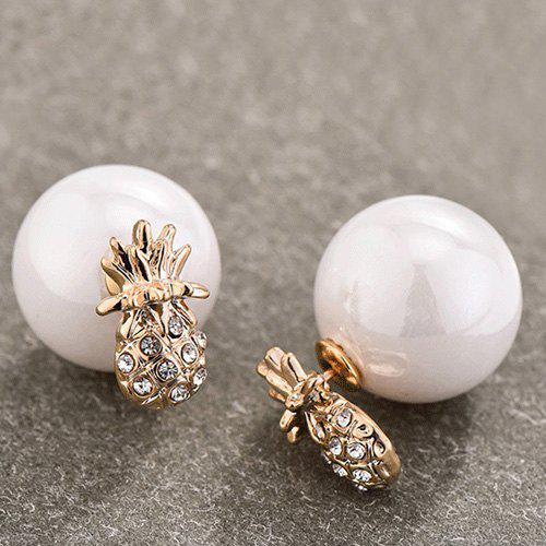 Pair of Fruit Rhinestone Embellished Faux Pearl Earrings - WHITE