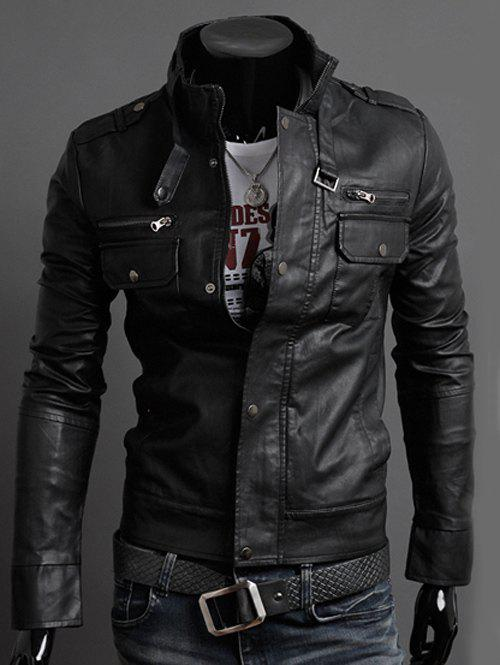 Belt Embellished Stand Collar PU-Leather Epaulet Long Sleeve Men's Jacket 184829201