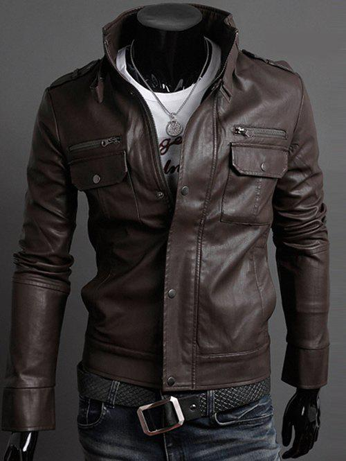 Belt Embellished Stand Collar PU-Leather Epaulet Long Sleeve Men's Jacket 184829206