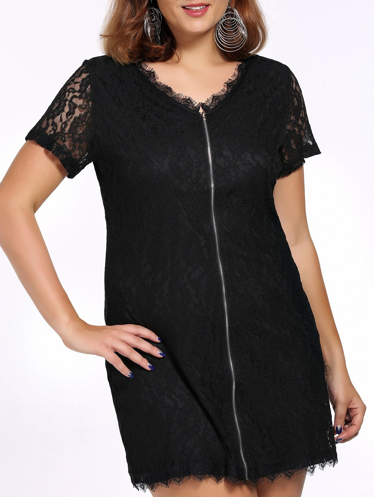 Alluring Plus Size Lace Design Zippered Women's Dress