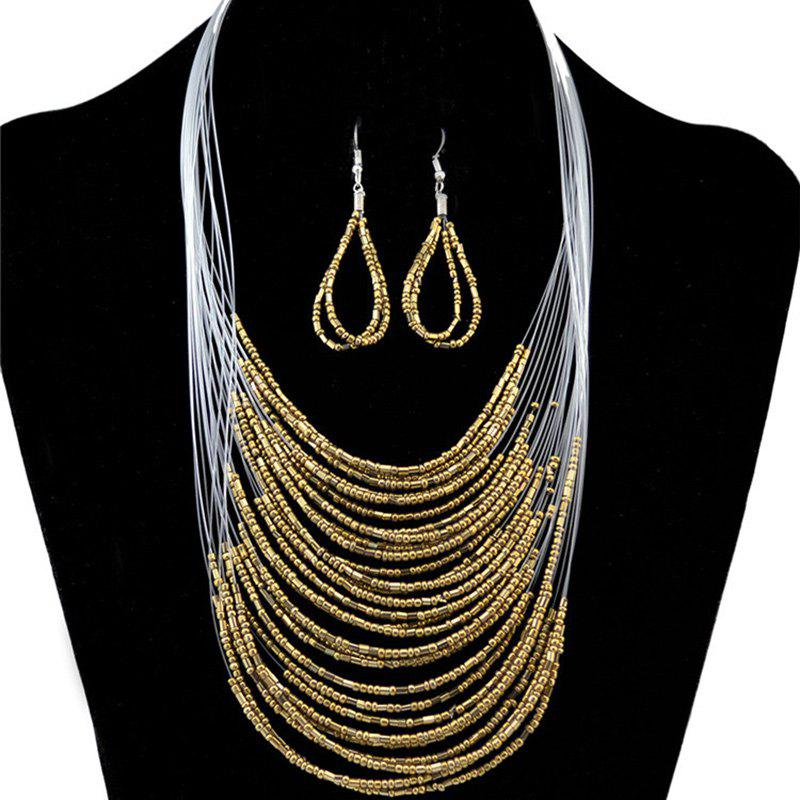 A Suit of Multilayer Necklace and Earrings - GOLDEN