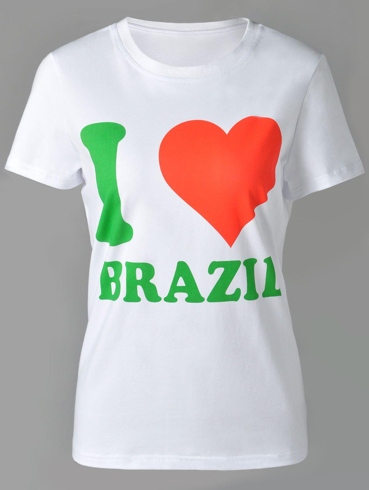 Casual Women's Round Neck Letter and Heart Print Short Sleeve T-Shirt - WHITE XL