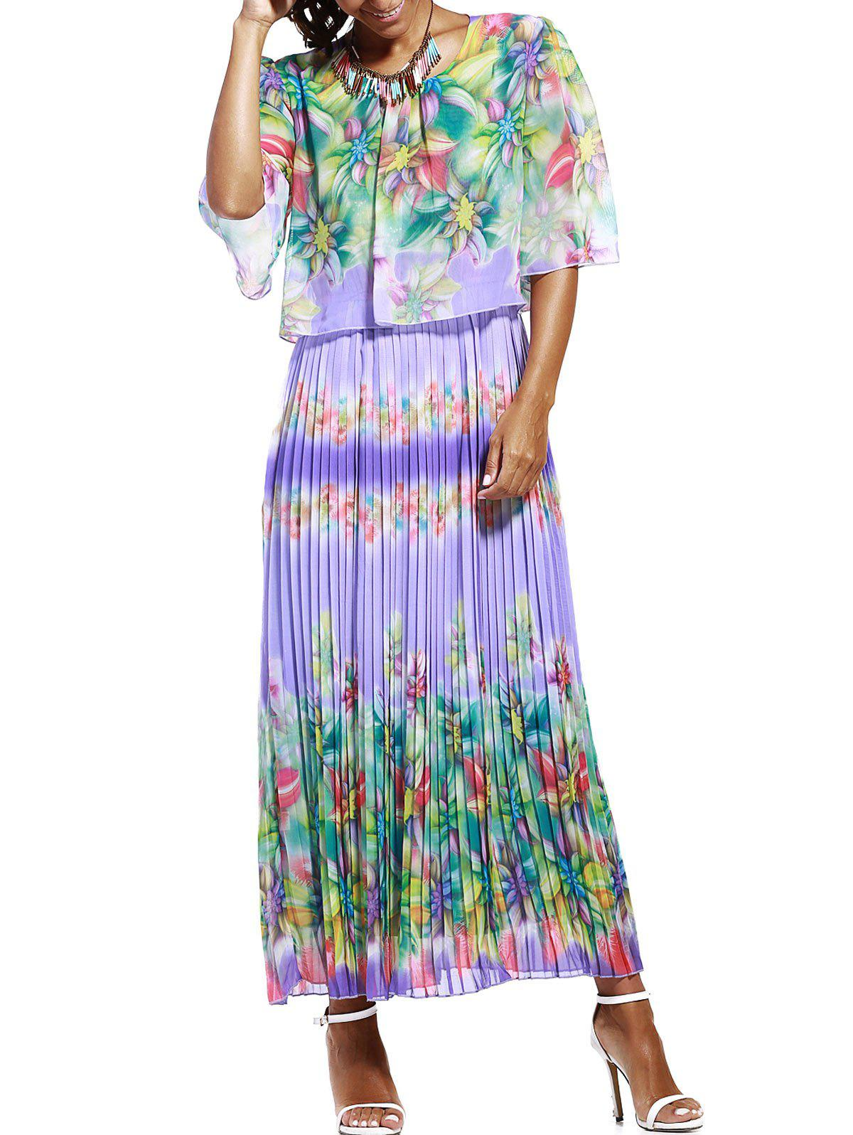Floral Print Pleated Chiffon Maxi Dress - LIGHT PURPLE 3XL
