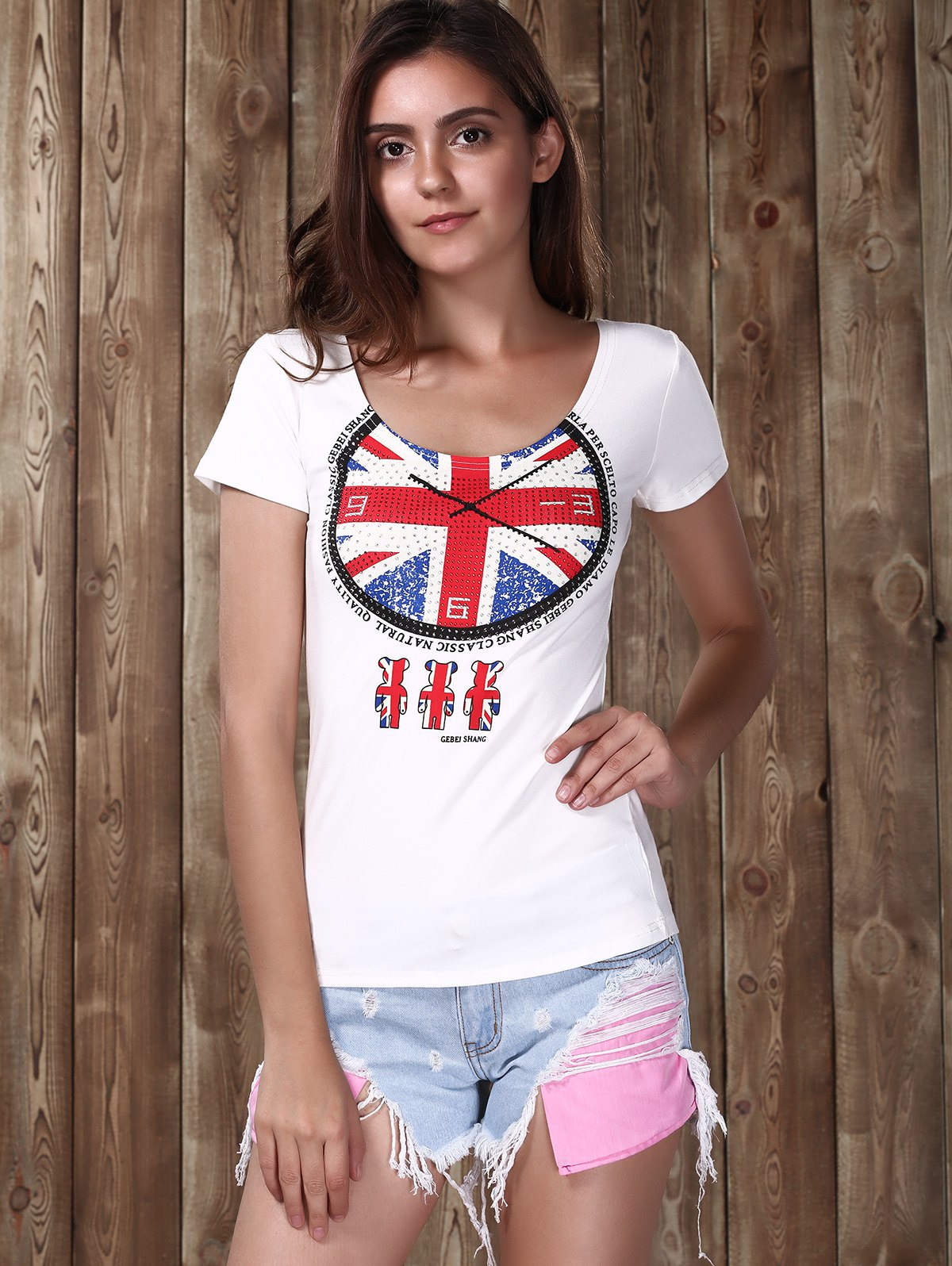 Clock Flag Sequins T-Shirt