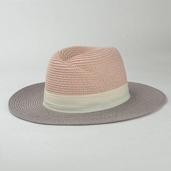 Stylish Wide Band Embellished Color Match Sunscreen Women's Straw Hat