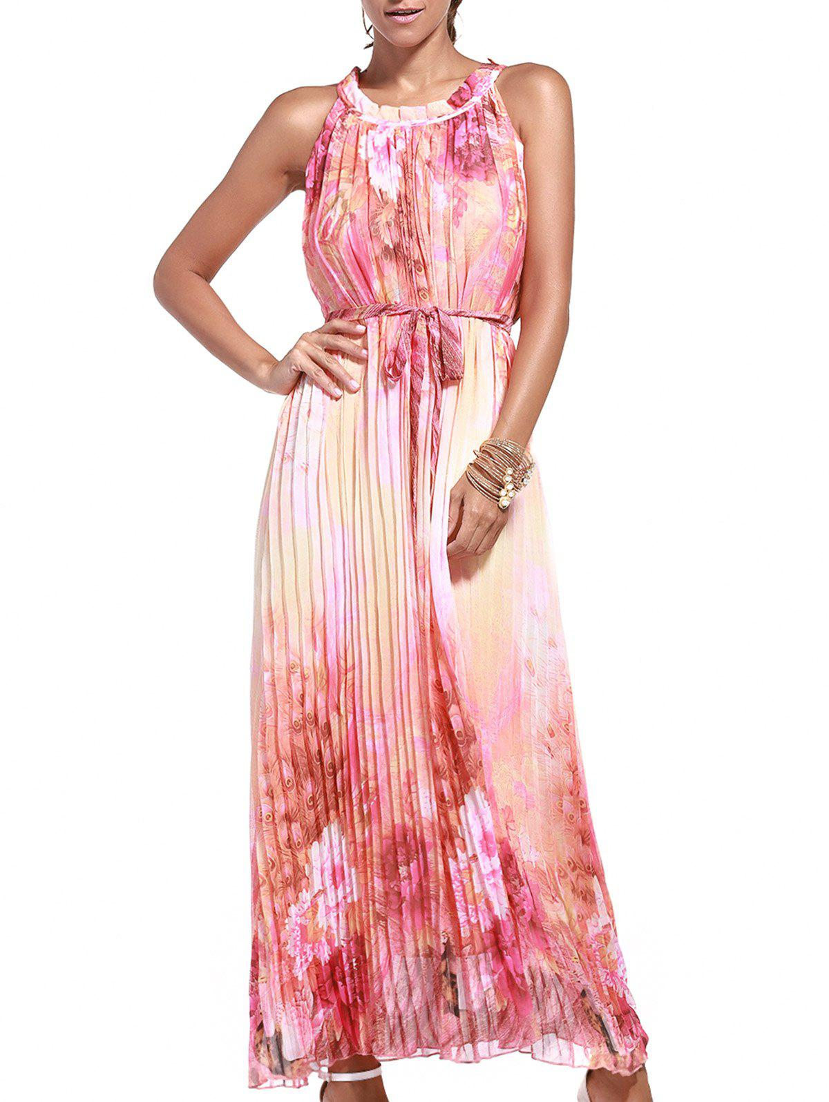 Floral Print Pleated Maxi Dress with Belt - ORANGEPINK 7XL