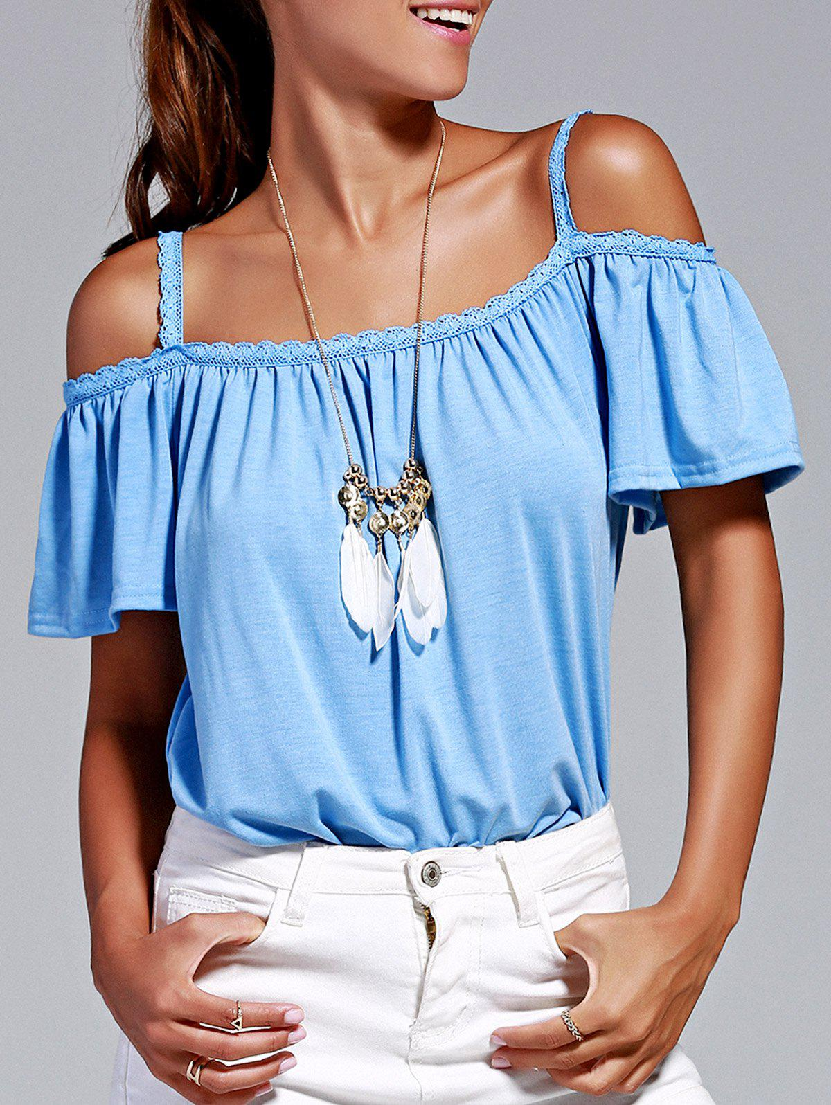 Stylish Women's Cold Shoulder Lace Trimming T-Shirt - ICE BLUE XL