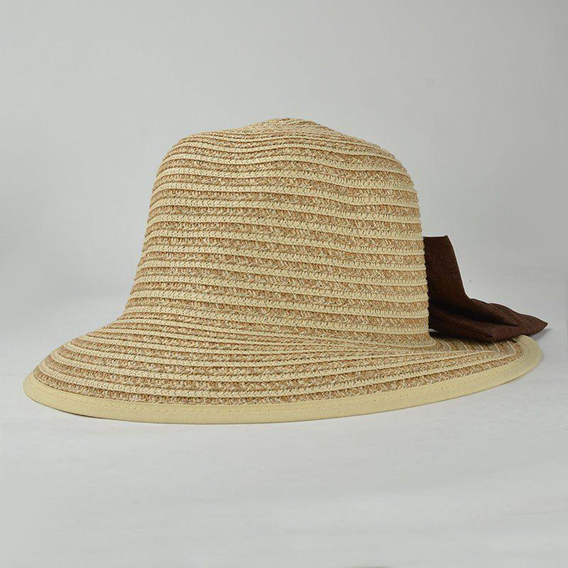 Stylish Big Bow Embellished Casual Holiday Travelling Sunscreen Women's Straw Hat - BEIGE