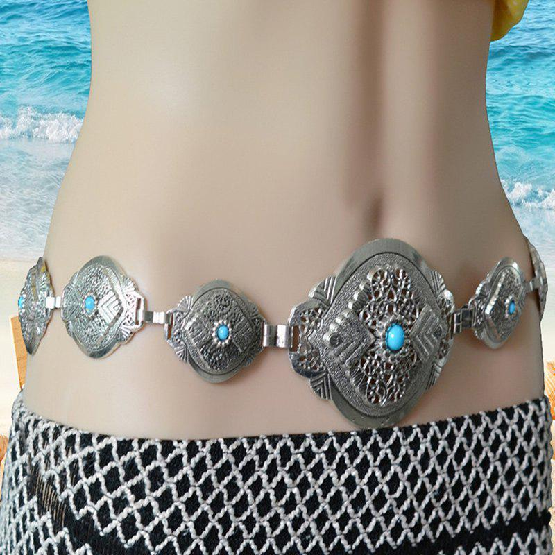 Gorgeous Faux Gem Hollowed Embossed Waist Chain For Women