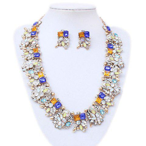 A Suit of Faux Crystal Embellished Necklace and Earrings - GOLDEN