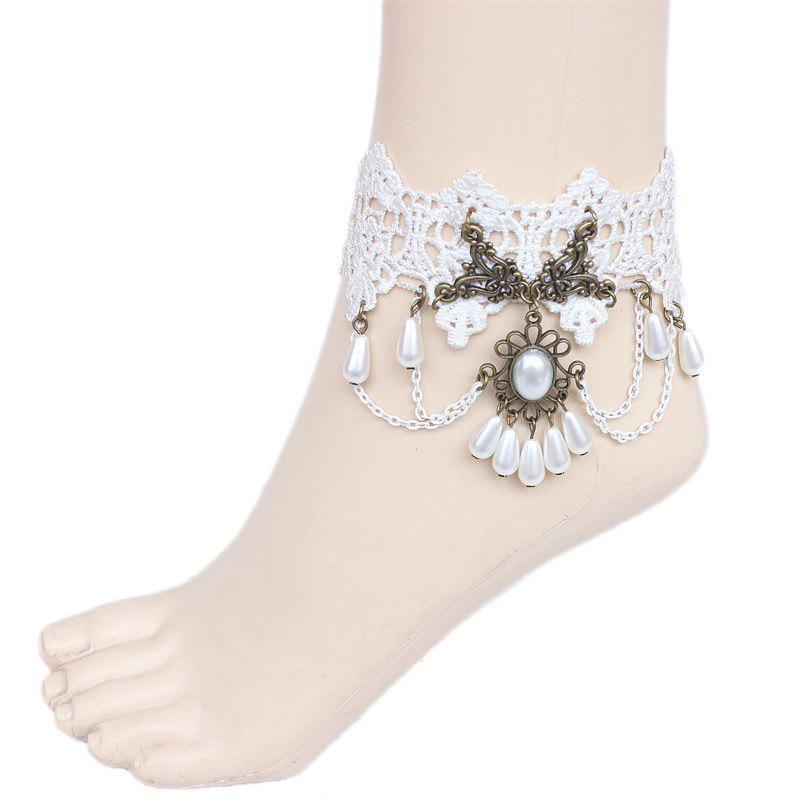 Faux Pearl Beads Lace Anklet - WHITE