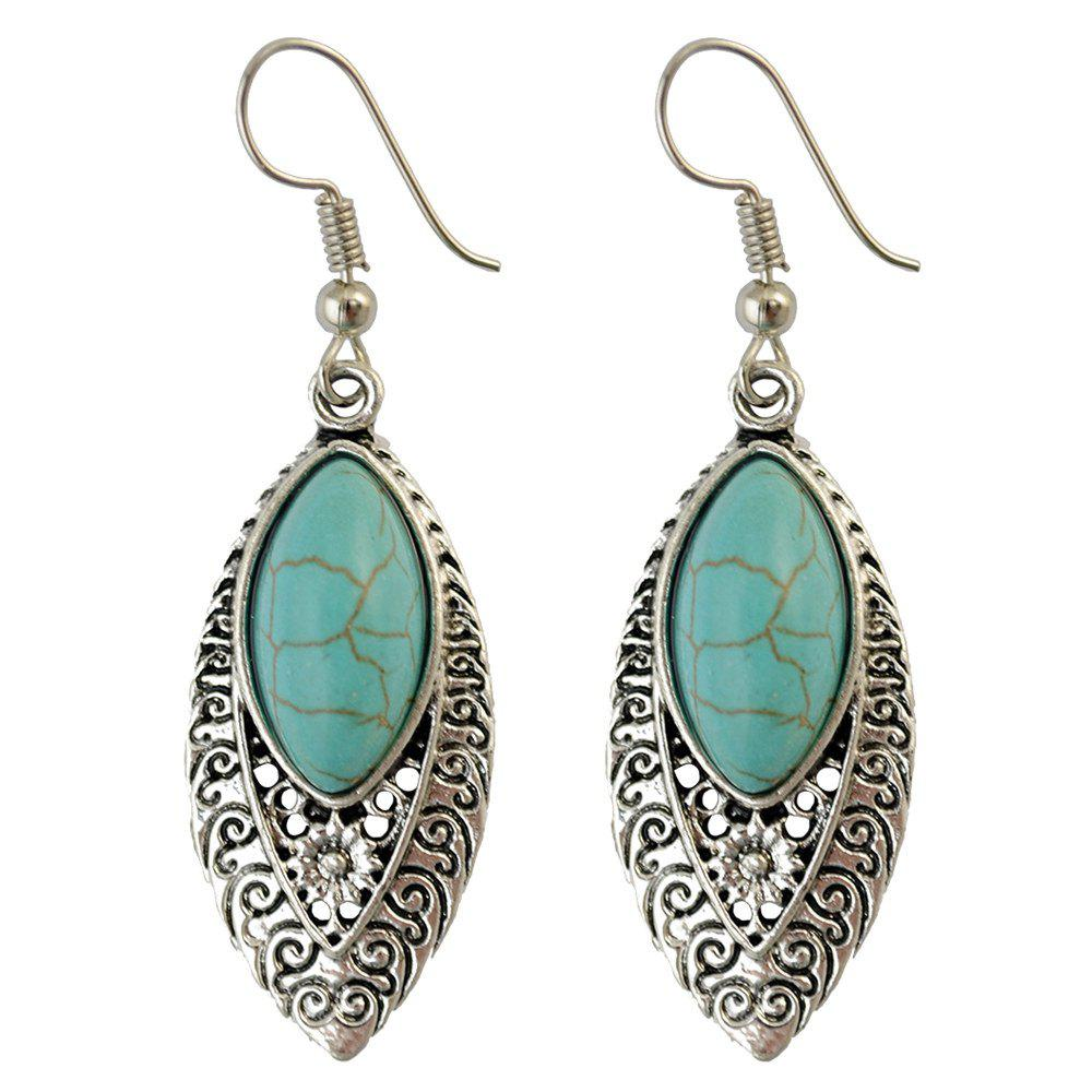 Pair of Vintage Faux Turquoise Flower Hollowed Drop Earrings For Women