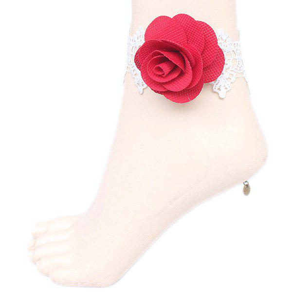 Hollow Out Rose Crochet Lace Flower Anklet - RED