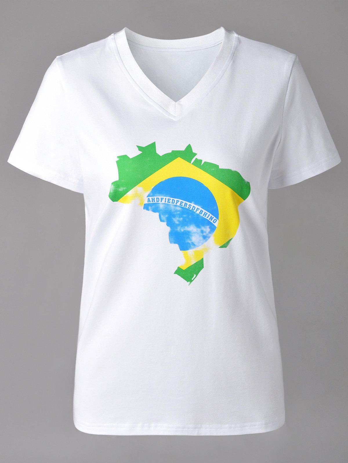 Casual Brazilian Flag Print V-Neck Short Sleeve T-Shirt For Women - WHITE XL