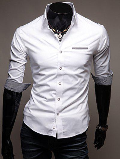 Edging Design Turn-Down Collar Men's Shirt - WHITE L