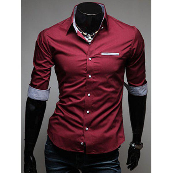 Edging Design Turn-Down Collar Men's Shirt от Dresslily.com INT
