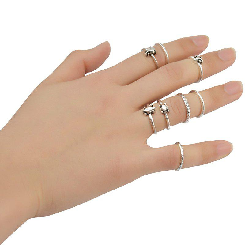 Gorgeous 8 Pcs/Set Rhinestone Heart Rings For Women -  SILVER
