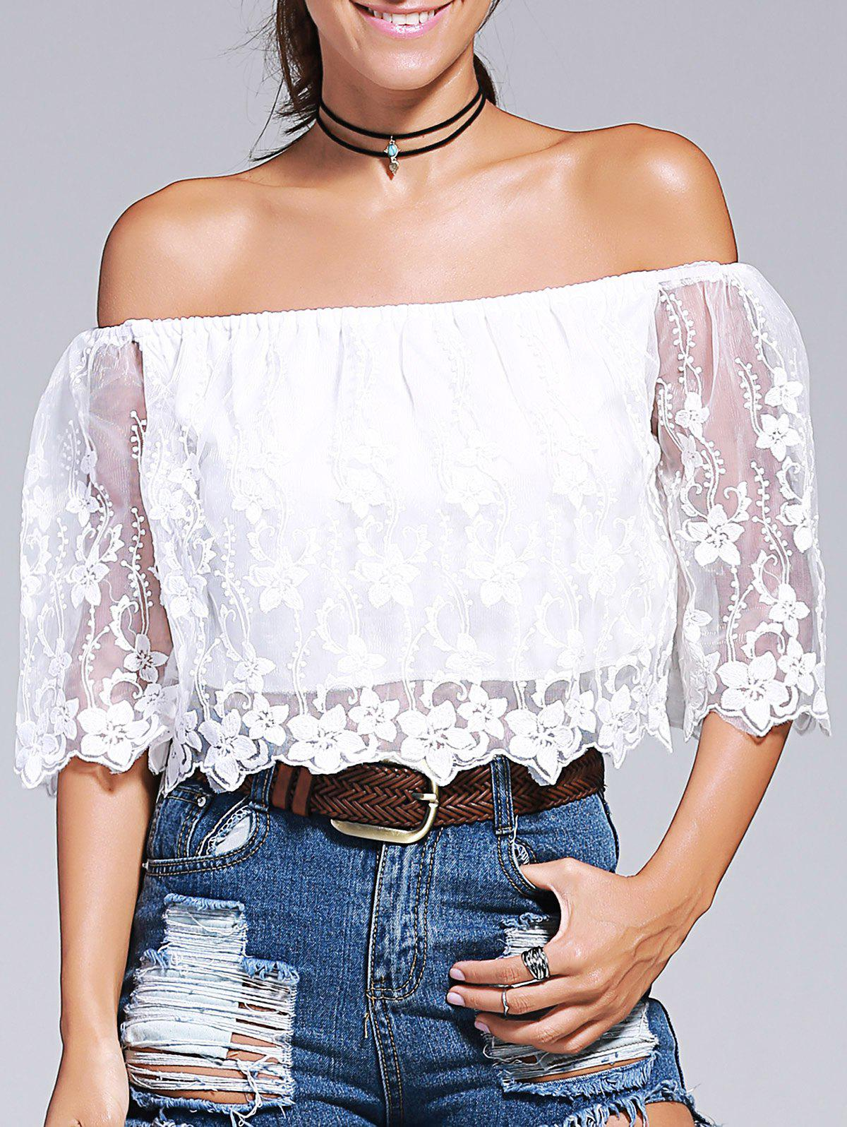 Off-The-Shoulder Laciness Embroidery Crop Top - WHITE L