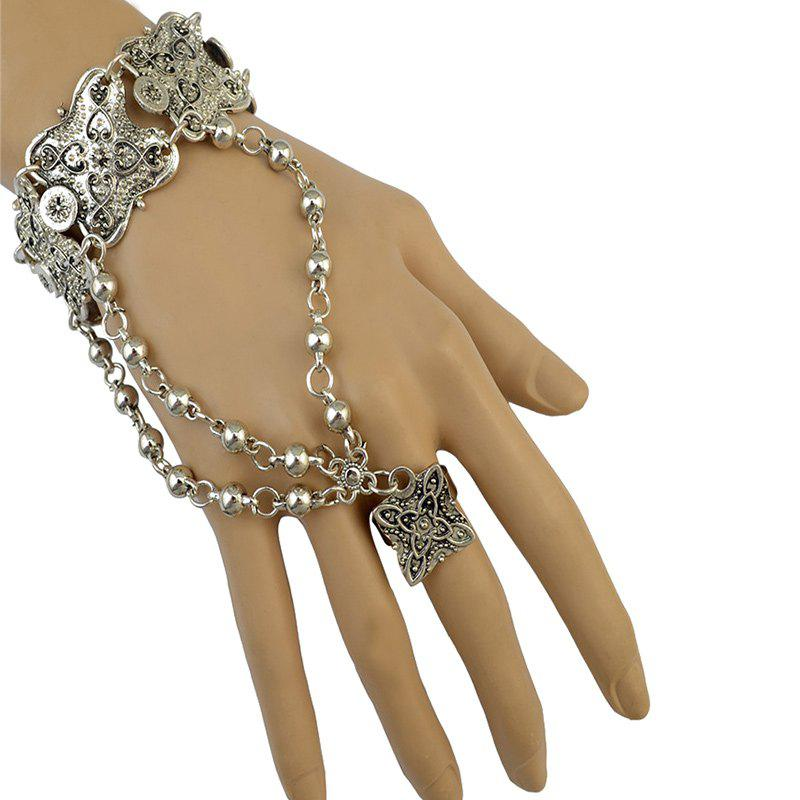 Embossed Flower Bead Bracelet with Ring -  SILVER