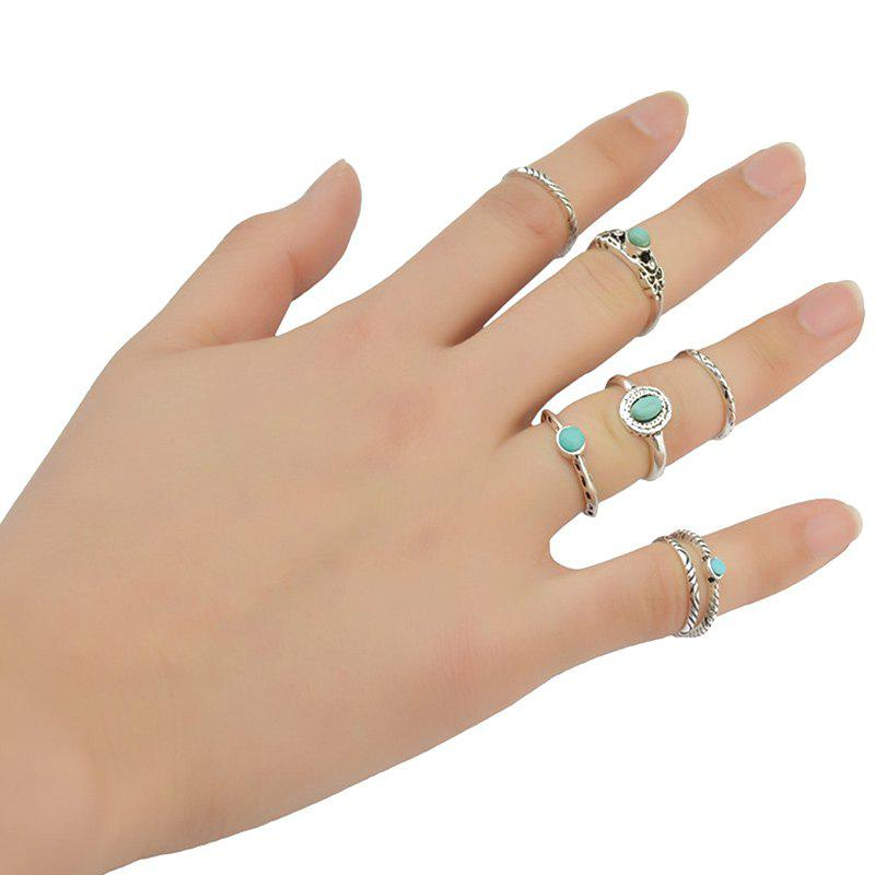 7 Pcs/Set Faux Turquoise Embossed Rings - GREEN