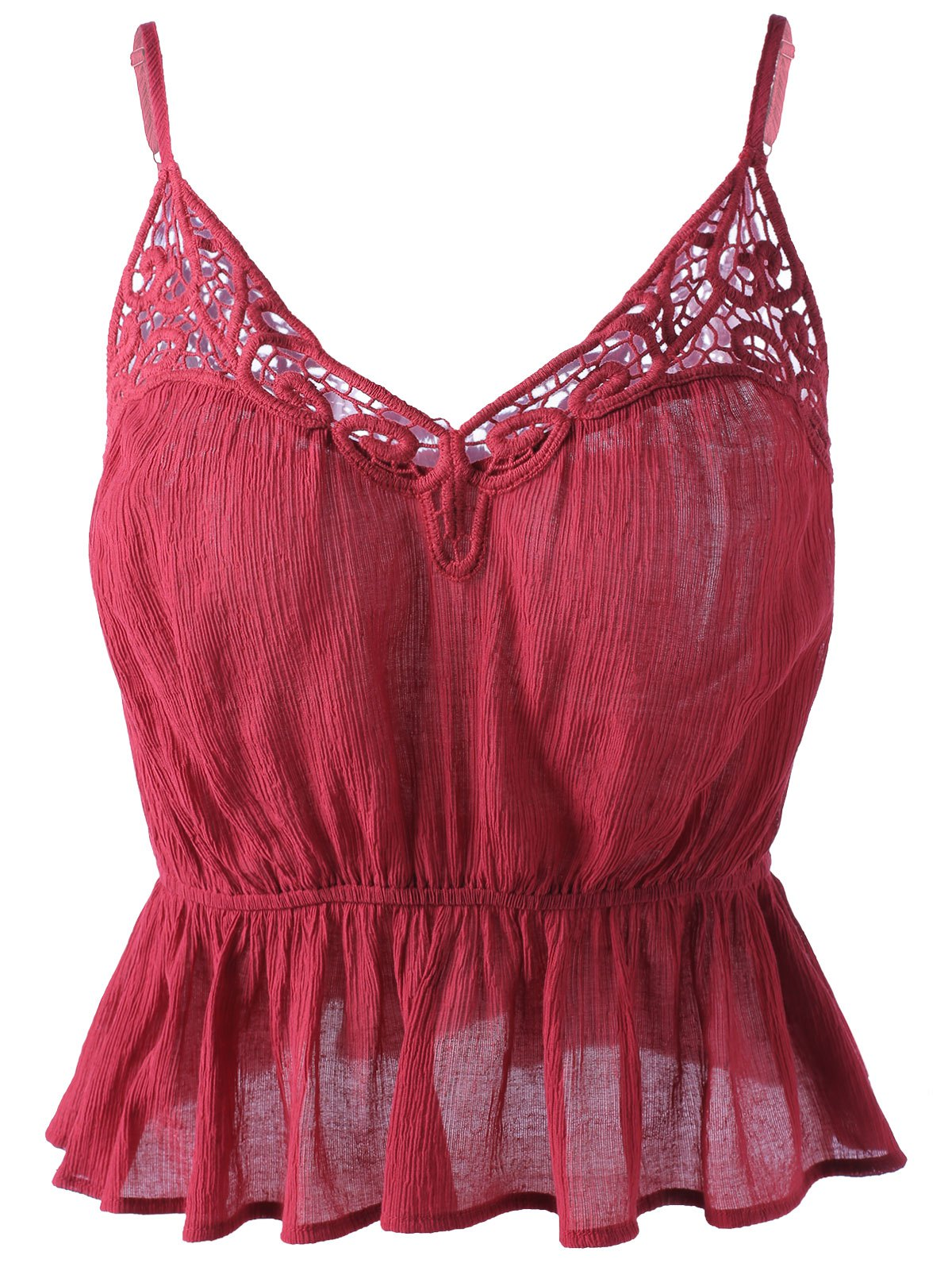 Trendy Spaghetti Strap  Wine Red Tank Top For Women - WINE RED S