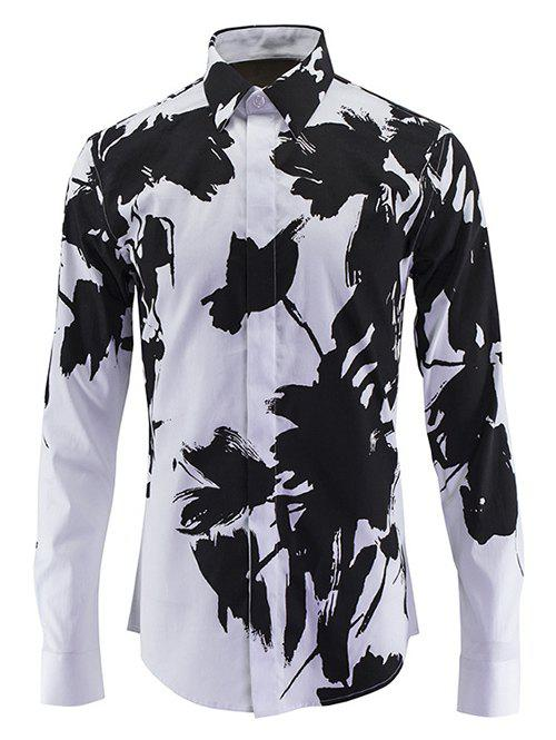 Chinese Style Turn-Down Collar Wash Painting Print Long Sleeve Men's Shirt - BLACK 3XL