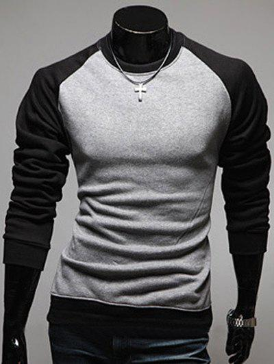 Raglan Sleeve Color Block Round Neck Men's Sweatshirt - GRAY 2XL