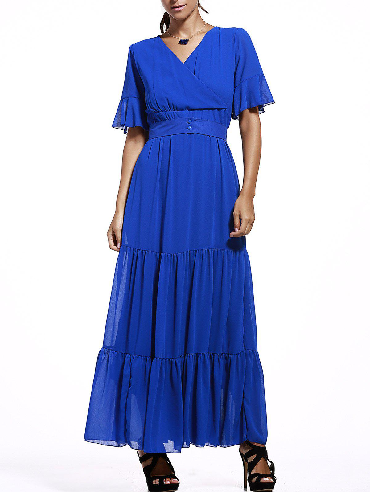 V-Neck Ruffle Maxi Chiffon Dress - BLUE 5XL