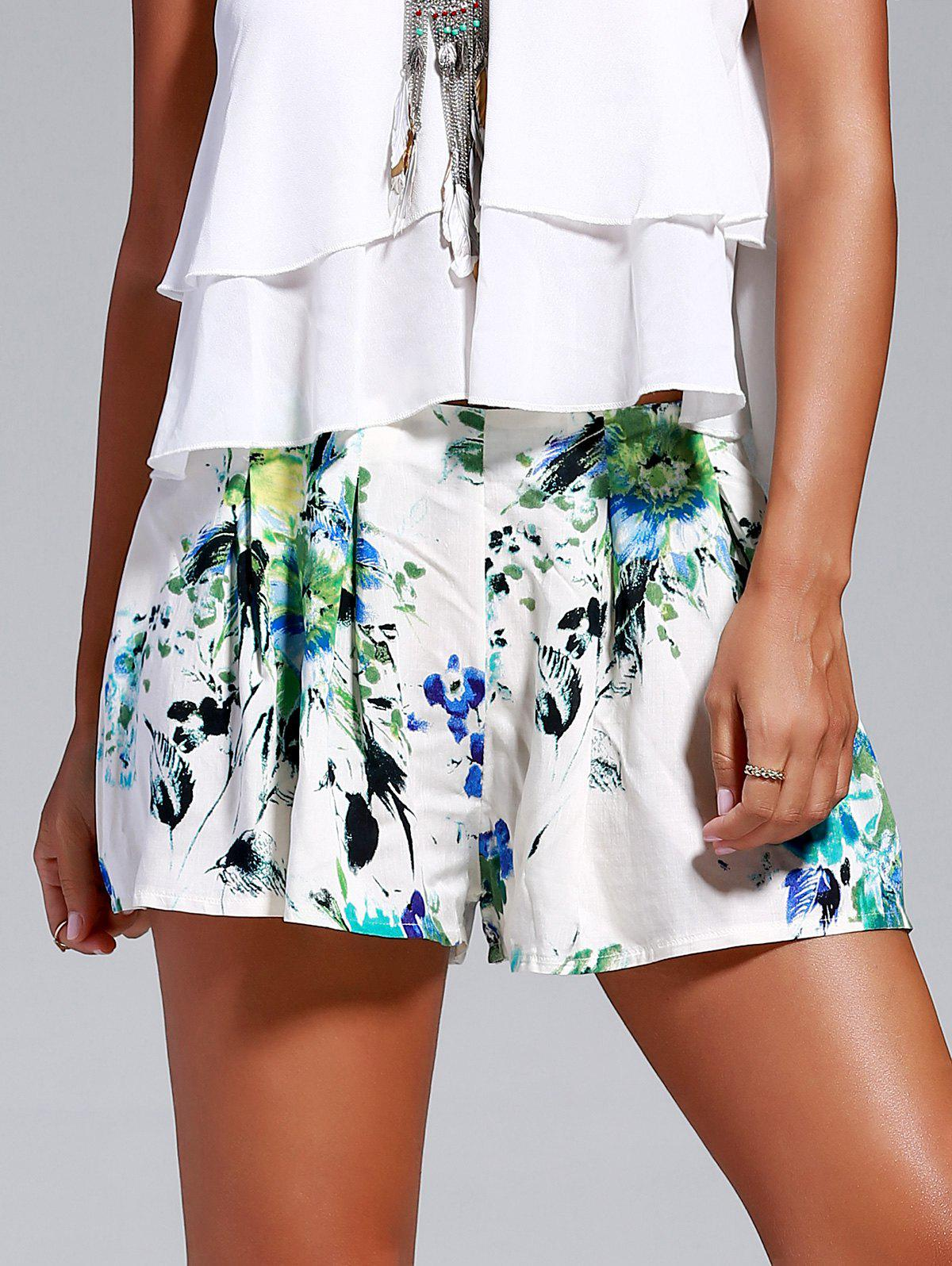 Sweet Women's Floral Print Loosed-Fitting Shorts - WHITE XL