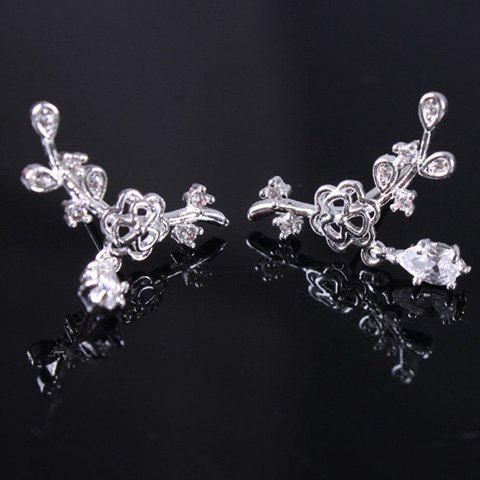 Pair of Water Drop Floral Earrings - WHITE