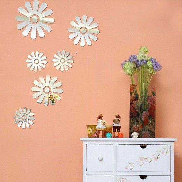 Exquisite Applique Removeable Mirror Wall Sticker - SILVER