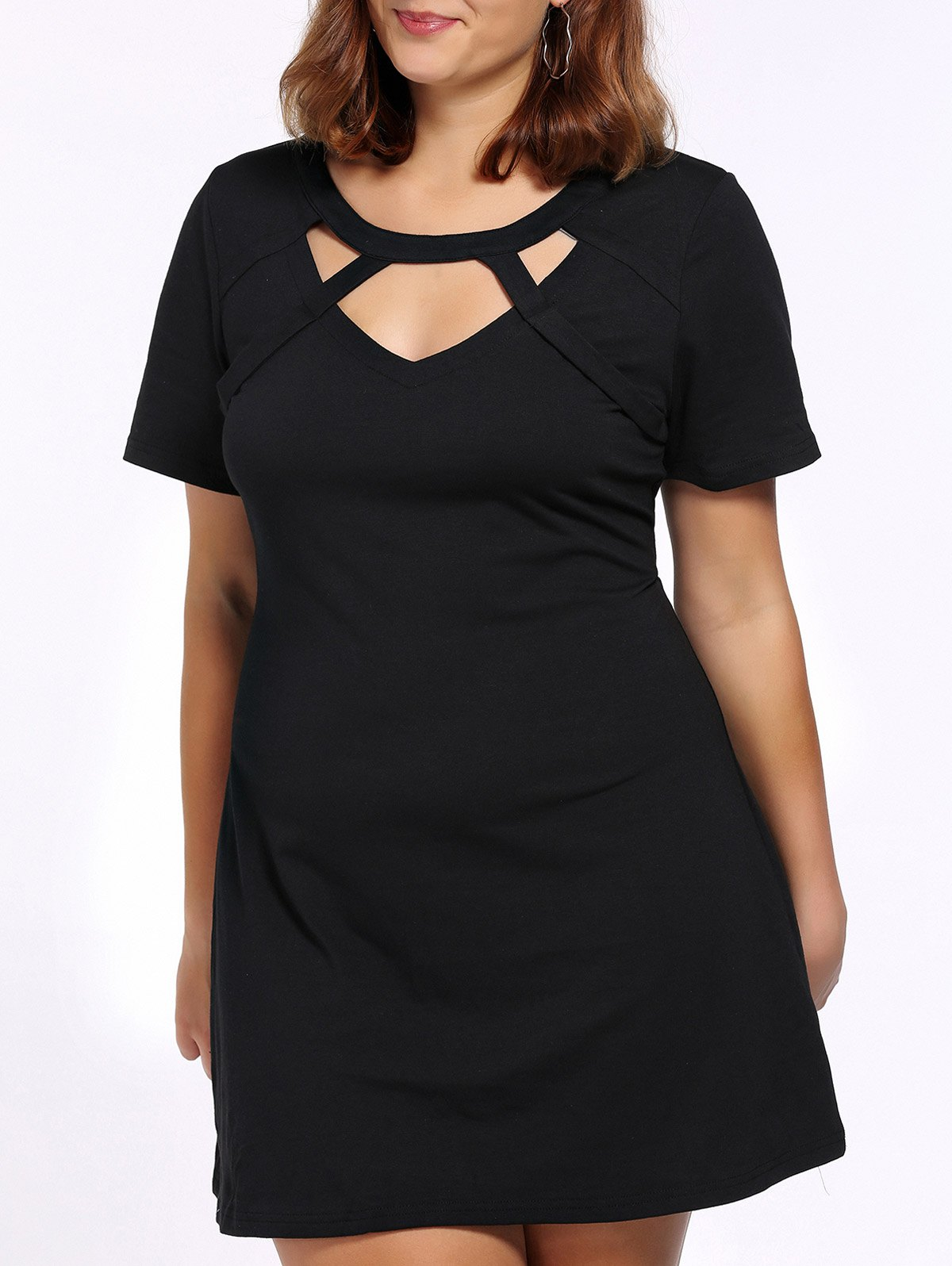 Alluring Plus Size Cut Out Women's Black Dress - BLACK 4XL