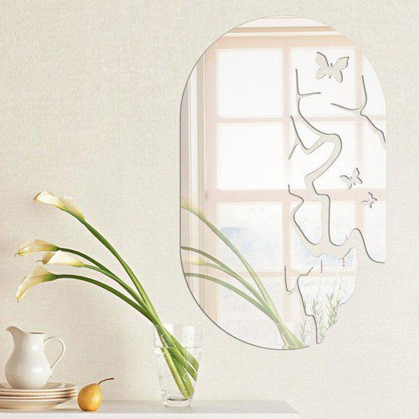 Exquisite Butterfly Solid Color Removeable Mirror Wall Stick - SILVER