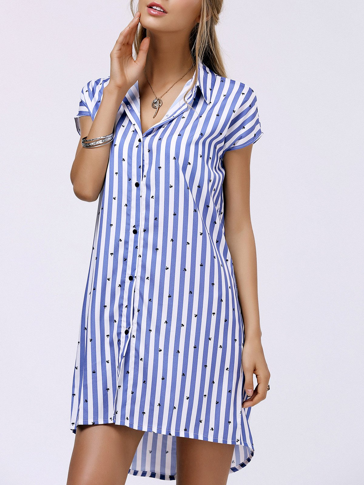 Fashionable Women's Shirt Collar Striped High Low Dress - BLUE L