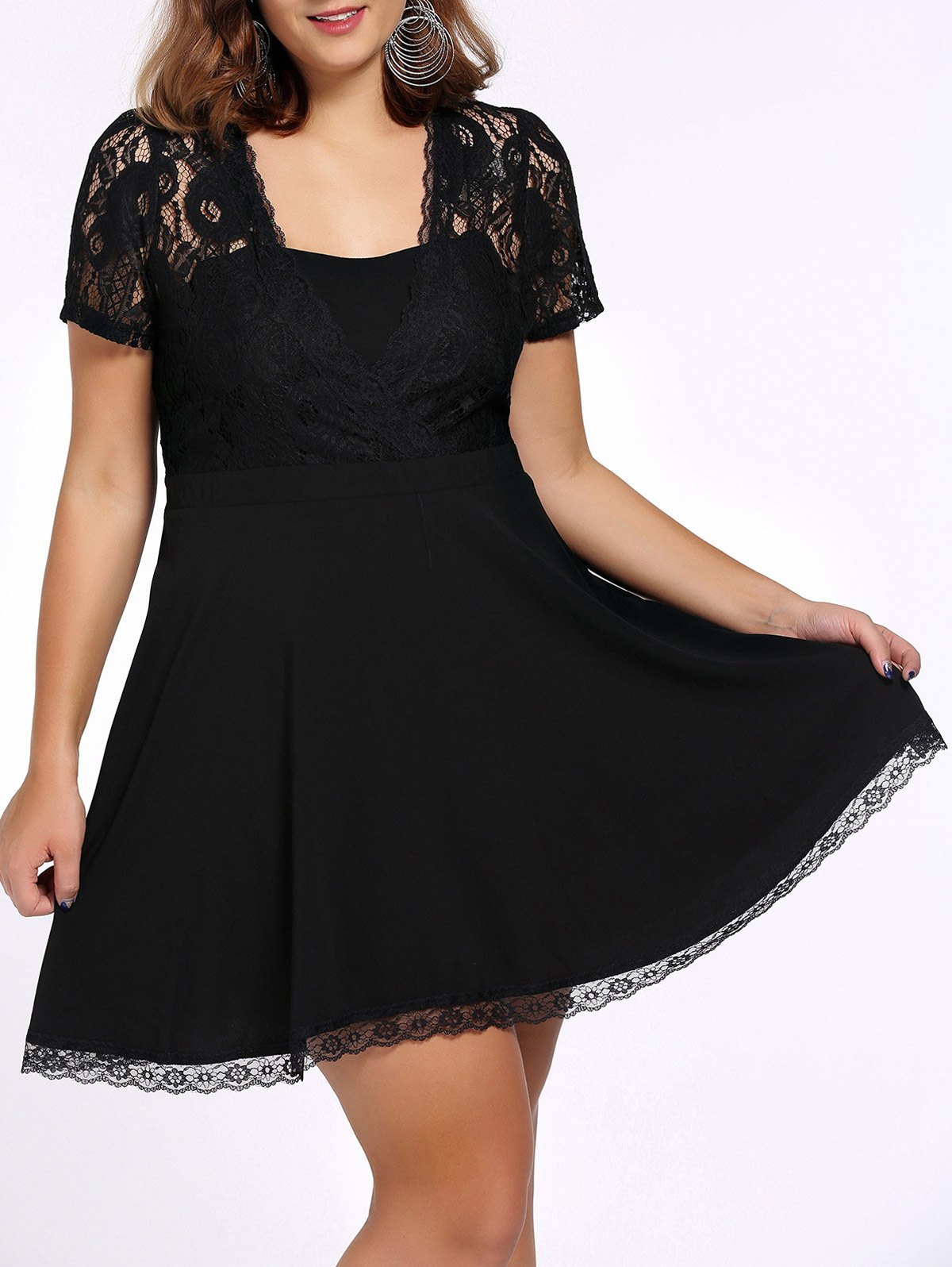 Chic Plus Size Square Neck Lace Design Black Women's Dress - BLACK 2XL
